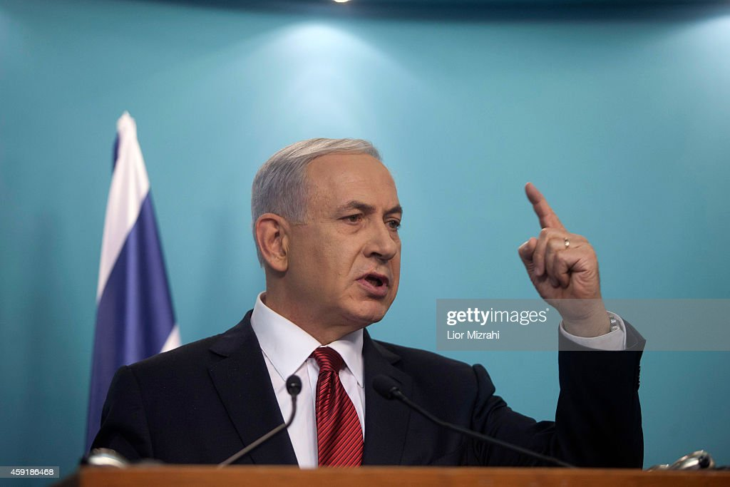 Israeli Prime Minister <a gi-track='captionPersonalityLinkClicked' href=/galleries/search?phrase=Benjamin+Netanyahu&family=editorial&specificpeople=118594 ng-click='$event.stopPropagation()'>Benjamin Netanyahu</a> speaks during a press conference on November 18, 2014 in Jerusalem, Israel. Netanyahu said incitement by the Palestinian Authority, Hamas and Islamic Jihad led to a terrorist attack in a Jerusalem synagogue, which killed four worshippers and wounded several others.
