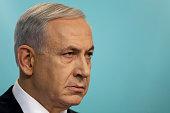 Israeli Prime Minister Benjamin Netanyahu speaks during a press conference on November 18 2014 in Jerusalem Israel Netanyahu said incitement by the...