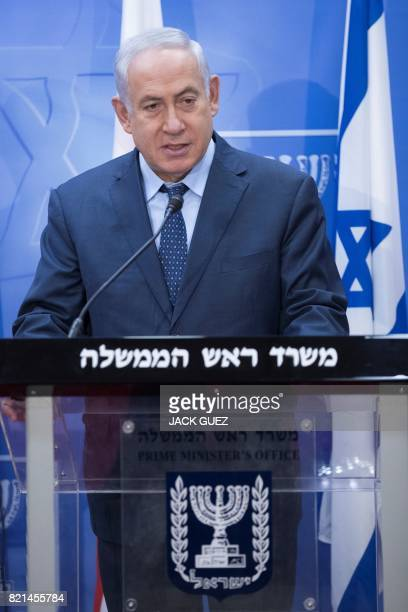 Israeli Prime Minister Benjamin Netanyahu speaks during a press conference with his Georgian counterpart at his office in Jerusalem on July 24 2017...