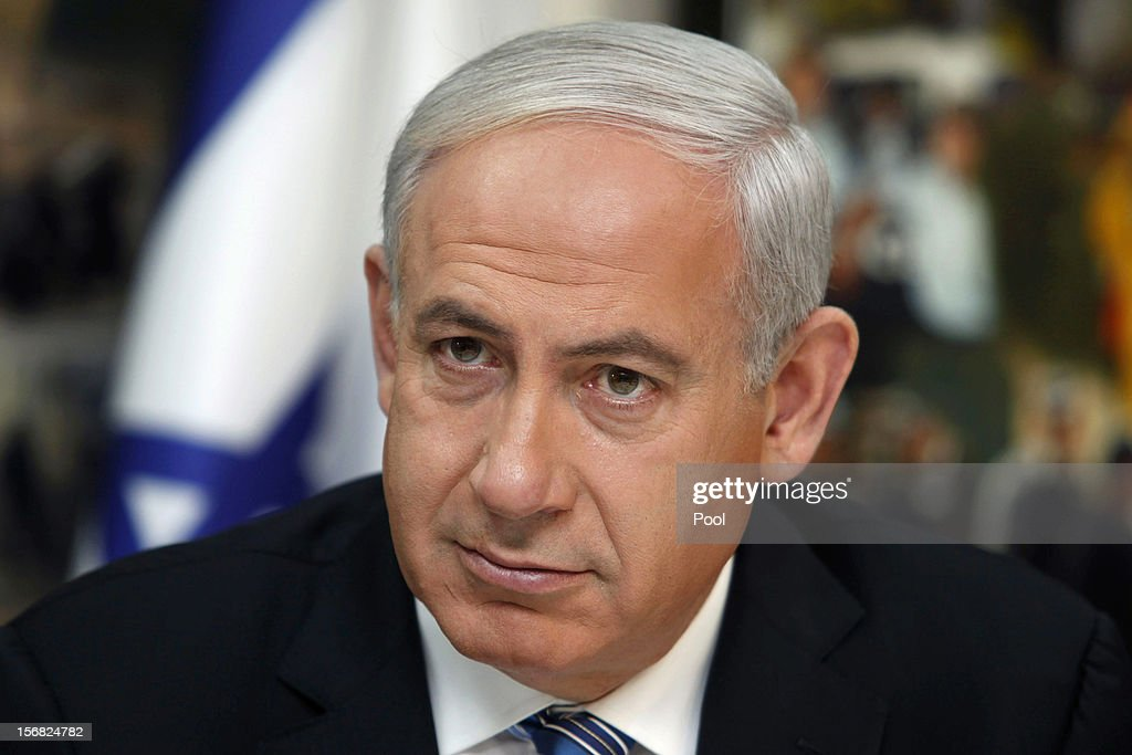 Israeli Prime Minister Benjamin Netanyahu speaks during a visit to the national police headquarters on November 22, 2012 in Jerusalem, Israel. A ceasefire took hold on November 21 in and around Gaza after a week of cross-border violence between Israel and Palestinian militants, although a police spokesman reported that twelve rockets fired from the Gaza Strip hit Israel in the hours that followed the agreement.