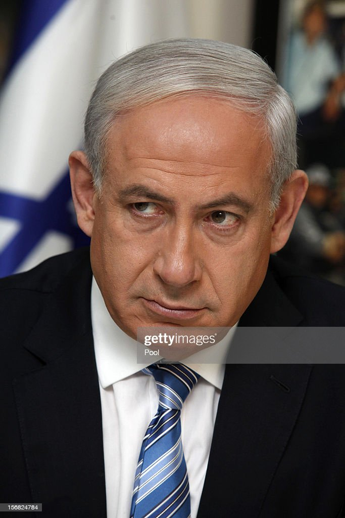 Israeli Prime Minister <a gi-track='captionPersonalityLinkClicked' href=/galleries/search?phrase=Benjamin+Netanyahu&family=editorial&specificpeople=118594 ng-click='$event.stopPropagation()'>Benjamin Netanyahu</a> speaks during a visit to the national police headquarters on November 22, 2012 in Jerusalem, Israel. A ceasefire took hold on November 21 in and around Gaza after a week of cross-border violence between Israel and Palestinian militants, although a police spokesman reported that twelve rockets fired from the Gaza Strip hit Israel in the hours that followed the agreement.