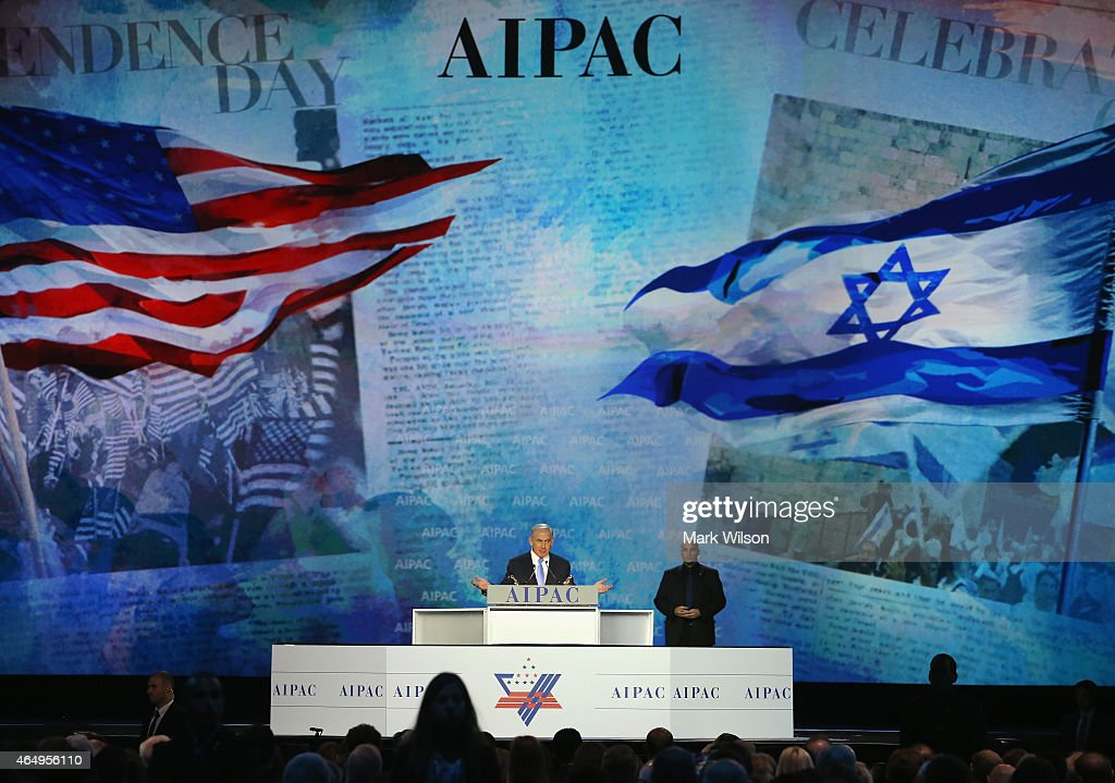 Israeli Prime Minister Benjamin Netanyahu speaks during the American Israel Public Affairs Committee 2015 Policy Conference March 2 2015 in...