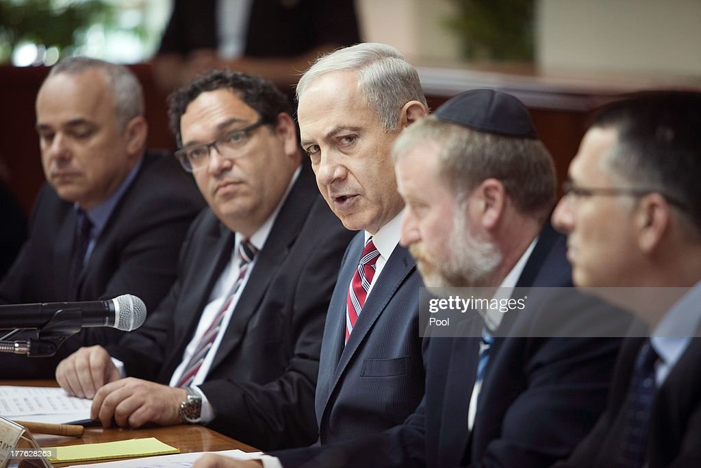 Israeli Prime Minister <a gi-track='captionPersonalityLinkClicked' href=/galleries/search?phrase=Benjamin+Netanyahu&family=editorial&specificpeople=118594 ng-click='$event.stopPropagation()'>Benjamin Netanyahu</a> speaks during the weekly cabinet meeting on August 25, 2013 in Jerusalem, Israel. Netanyahu stated that the use of chemical weapons in Syria, should not be tolerated, and that Israel was 'poised and ready' to defend itself if required.