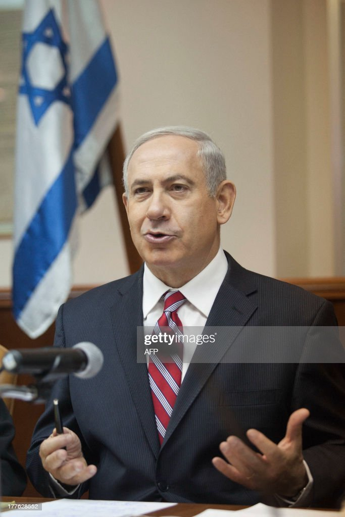Israeli Prime Minister Benjamin Netanyahu speaks during the weekly cabinet meeting in Jerusalem on August 25, 2013. Netanyahu called the reported chemical weapons attacks in Syria 'a terrible tragedy and a terrible crime'. He added that the alleged attack was further proof 'the world's most dangerous regimes cannot have possession over the world's most dangerous weapons'.