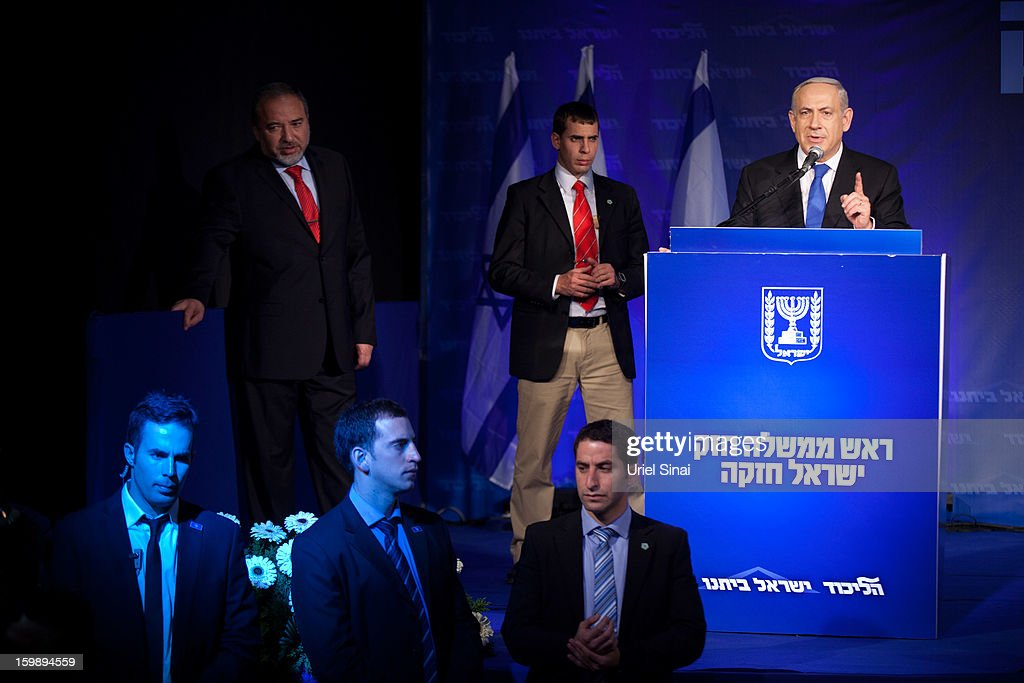 Israeli Prime Minister Benjamin Netanyahu speaks to his supporters at his election campaign headquarters on Janurary 23, 2013 in Tel Aviv, Israel. Exit polls suggested that current Prime Minister Benjamin Netanyahu will return to office, although he performed worse than expected.