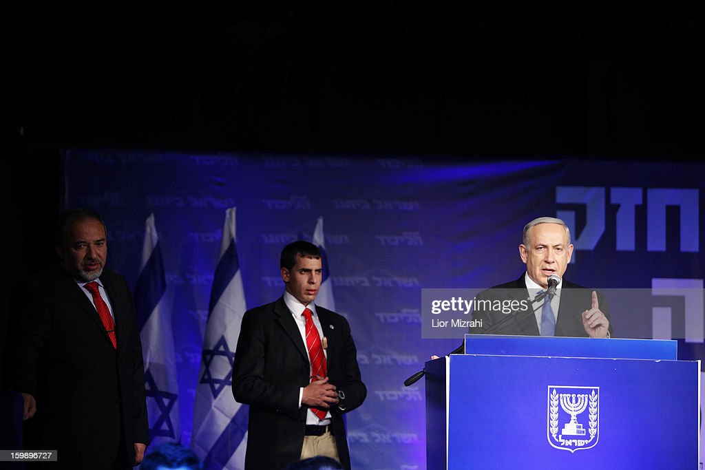 Israeli Prime Minister Benjamin Netanyahu speaks to supporters at his election campaign headquarters on Janurary 23, 2013 in Tel Aviv, Israel. Netanyahu was re-elected for a third term and will return to office, according to exit polls. Israel had the highest turnout of voters since 1999.