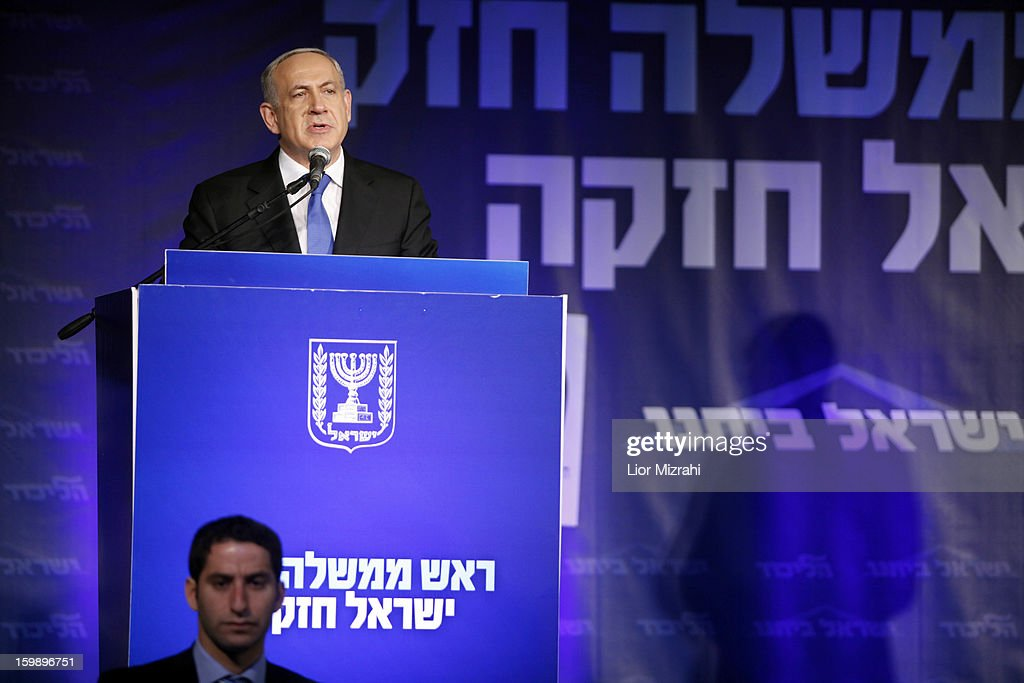 Israeli Prime Minister <a gi-track='captionPersonalityLinkClicked' href=/galleries/search?phrase=Benjamin+Netanyahu&family=editorial&specificpeople=118594 ng-click='$event.stopPropagation()'>Benjamin Netanyahu</a> speaks to supporters at his election campaign headquarters on Janurary 23, 2013 in Tel Aviv, Israel. Netanyahu was re-elected for a third term and will return to office, according to exit polls. Israel had the highest turnout of voters since 1999.
