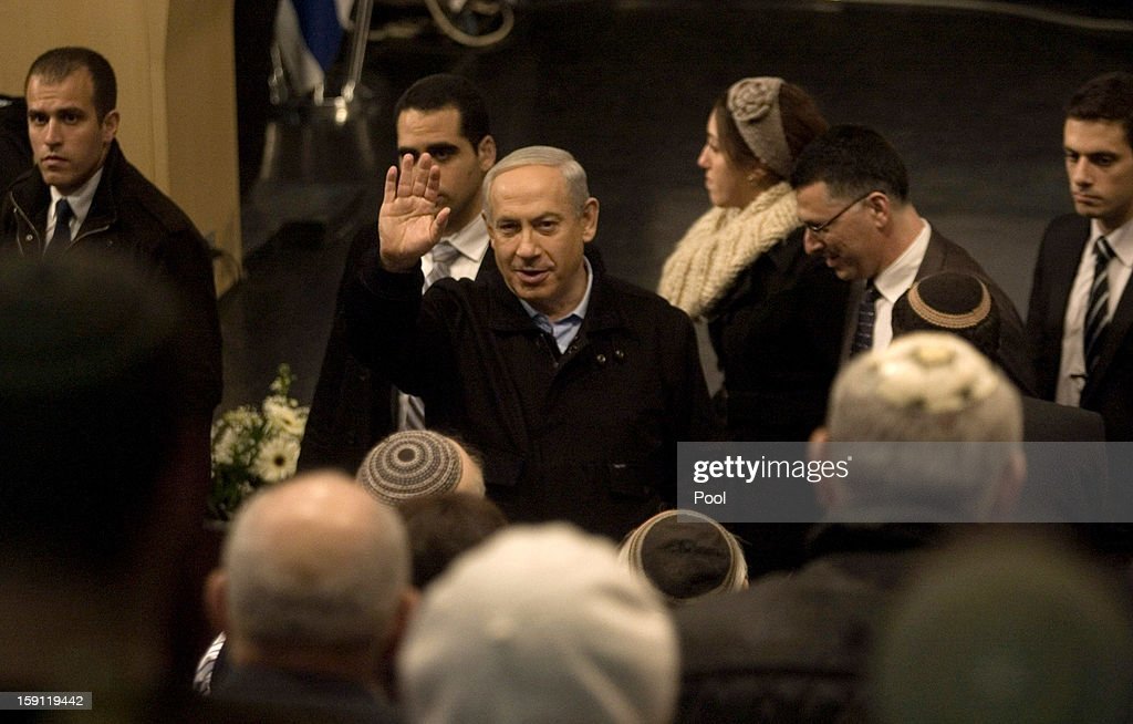 Israeli Prime Minister <a gi-track='captionPersonalityLinkClicked' href=/galleries/search?phrase=Benjamin+Netanyahu&family=editorial&specificpeople=118594 ng-click='$event.stopPropagation()'>Benjamin Netanyahu</a> visits the Ariel University Center January 8, 2013 in Ariel, West Bank. The insititution had recently been formally upgraded to university status, becoming the first university in the West Bank Jewish settlements.