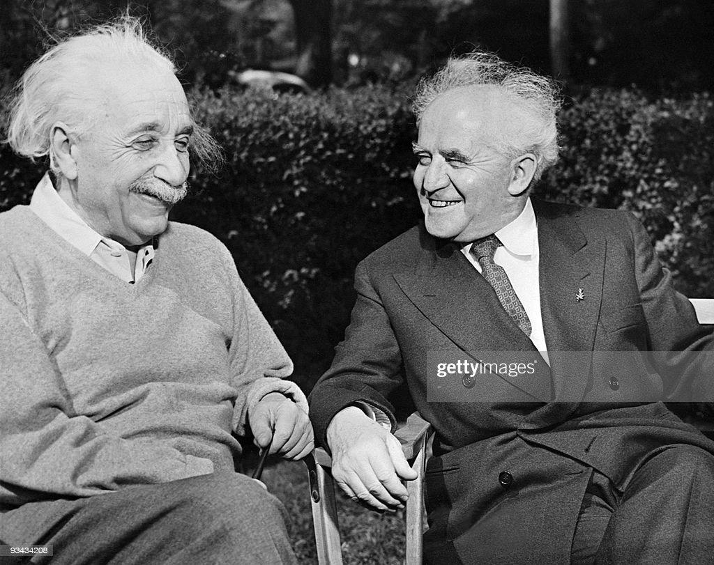 Israeli Prime Minister David Ben Gourion visits Albert Einstein at Princeton University on 1951The Physicist Albert Einstein author of theory of...