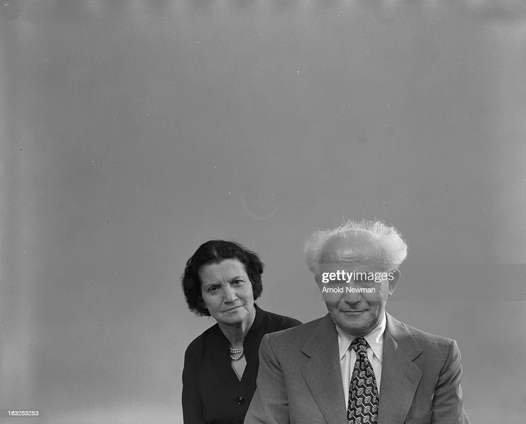 Isreali Prime Minister David Ben-Gurion (1886 - 1973) and his wife, Paula Ben-Gurion (1968 - 1892), May 1951.