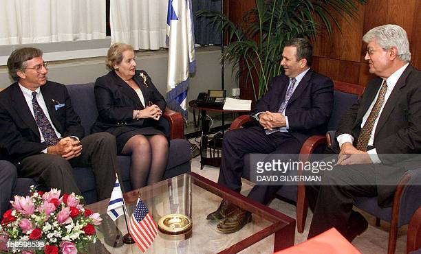 Israeli Prime Minister Ehud Barak and USSecretary of State Madeleine Albright are joined by Israeli Foreign Minister David Levy and US Middle East...