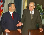 Israeli Prime Minister Ehud Barak is greeted by the Chairman of the US Senate Foreign Relations Committee Senator Jesse Helms during an afternoon...
