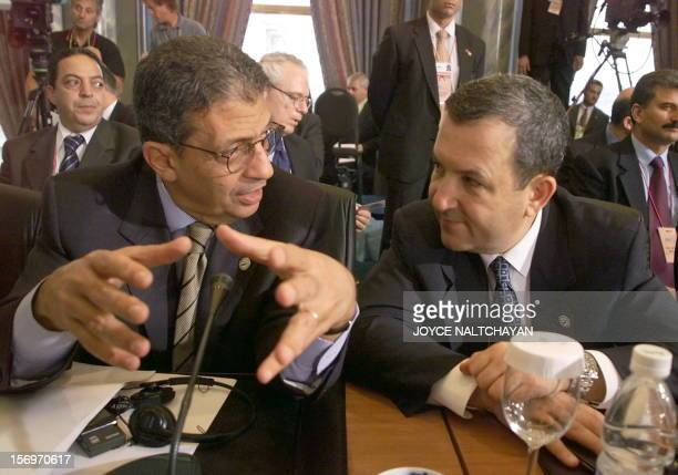 Israeli Prime Minister Ehud Barak listens to Egyptian Foreign Affairs minister Amr Mussa at the conference table at the Ciragan Palace in Istanbul 18...