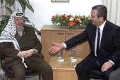 Israeli Prime minister Ehud Barak meets with Palestinian Authority President Yasser Arafat 03 February 2000 at Erez crossing at the entrance of the...