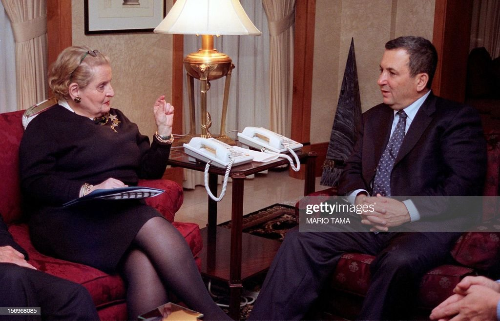 Israeli Prime Minister <a gi-track='captionPersonalityLinkClicked' href=/galleries/search?phrase=Ehud+Barak&family=editorial&specificpeople=202888 ng-click='$event.stopPropagation()'>Ehud Barak</a> (R) meets with US Secretary of State <a gi-track='captionPersonalityLinkClicked' href=/galleries/search?phrase=Madeleine+Albright&family=editorial&specificpeople=211429 ng-click='$event.stopPropagation()'>Madeleine Albright</a> 14 December 1999 in Washington, DC. Barak will meet with Syrian Foreign Minister Faruq al-Shara in the US capital for historic negotiations on the Golan Heights. AFP PHOTO/Mario TAMA