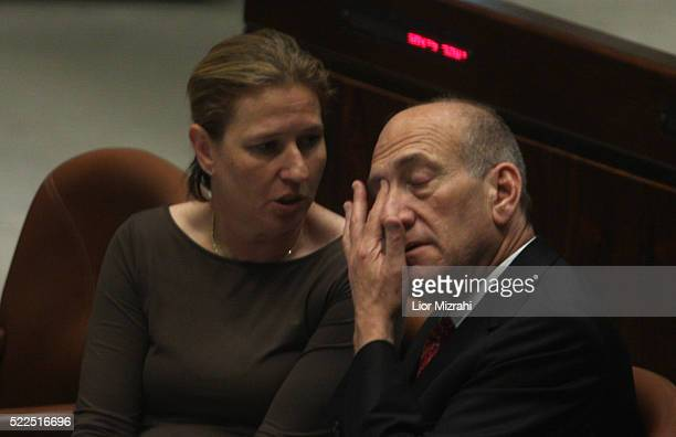 Israeli Prime Minister Ehud Olmert and Foreign Minister Tzipi Livni are seen during a Knesset session Israeli Parliament on June 25 2008 in Jerusalem...
