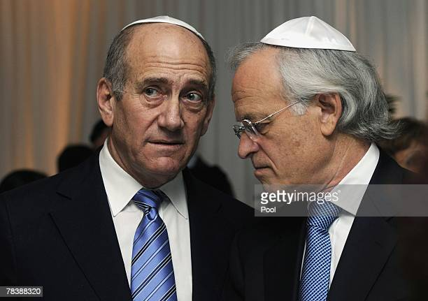 Israeli Prime Minister Ehud Olmert and former US Ambassador to Israel Martin Indyk attend the National Security Studies 'Security Challenges of the...