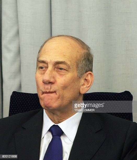 Israeli Prime Minister Ehud Olmert celebrates the 100th year since the creation of the Bezalel Art and Design Academy with art work dispalyed at the...