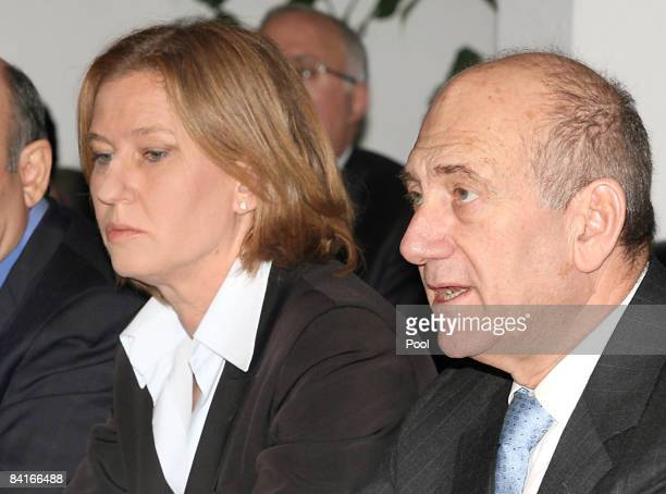 Israeli Prime Minister Ehud Olmert speaking next to his Foreign Minister Tzipi Livni in a cabinet meeting held on January 04 2009 in Tel Aviv Israel...