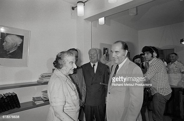 Israeli Prime Minister Golda Meir meets with French Socialist Party First Secretary Francois Mitterand on Mitterand's birthday The meeting took place...