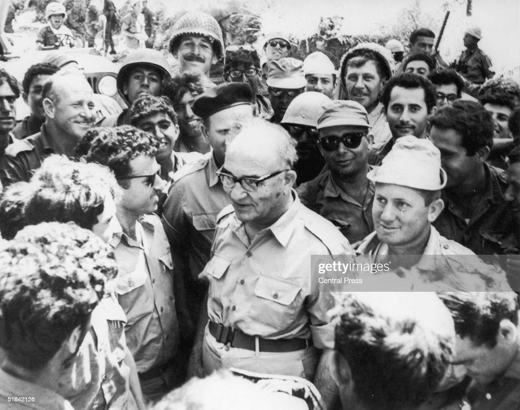 Israeli prime minister Levi Eshkol visits the Syrian Front during the Six Day ArabIsraeli War June 1967