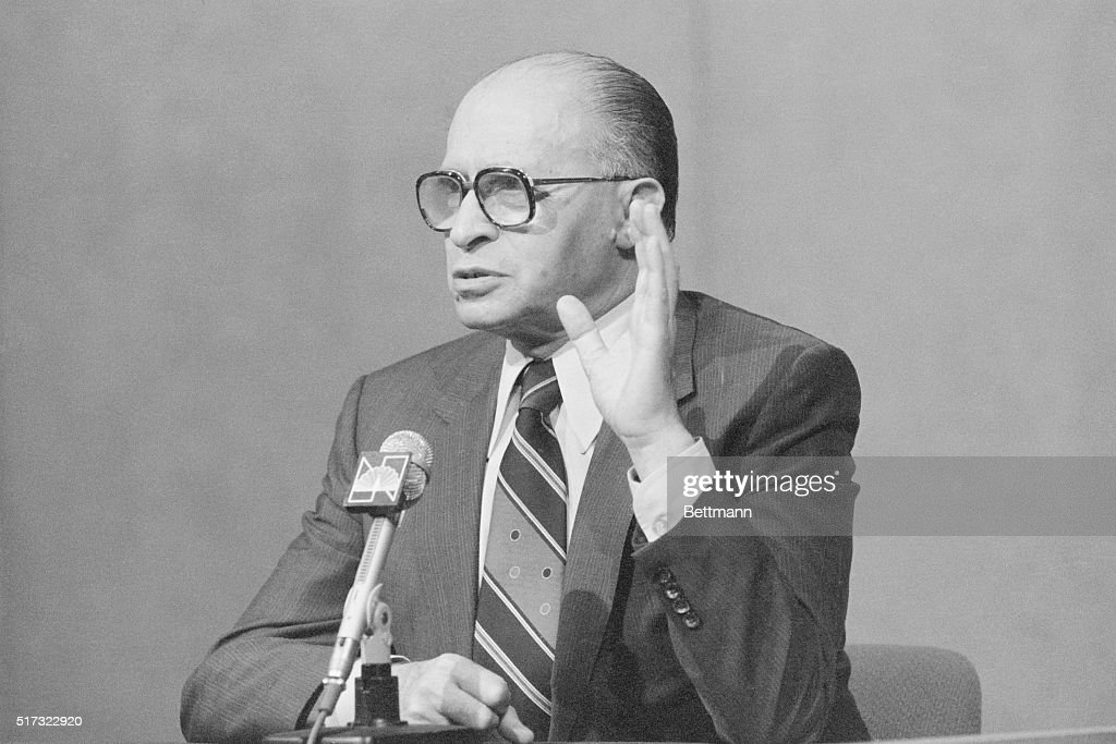 Israeli Prime Minister Menachem Begin on the TV show 'Meet The Press' during a visit to New York