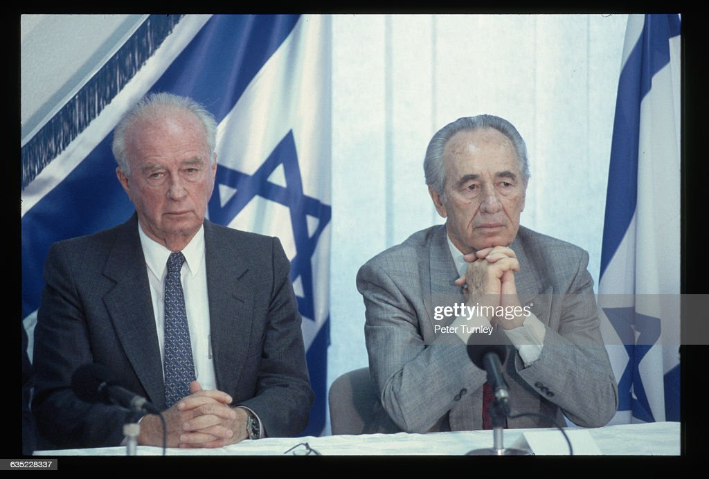 Israeli Prime Minister Yitzhak Rabin, left, and Foreign Minister Shimon Peres, together with PLO leader Yasser Arafat, won the Nobel Peace Prize for signing the peace agreement between Israel and the Palestine Liberation Organization (PLO).