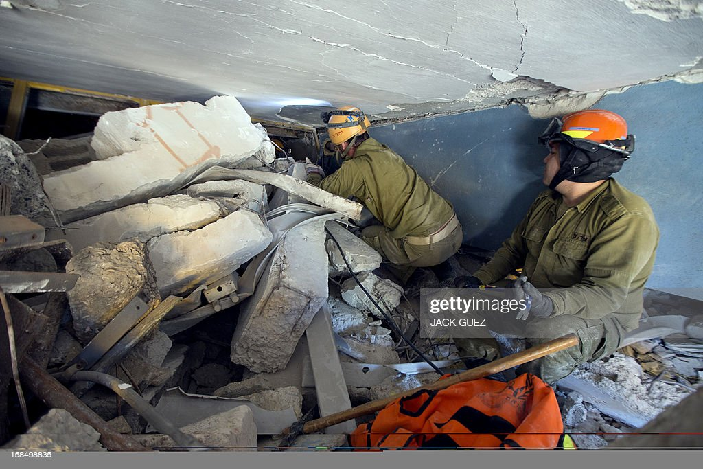 Israeli rescue troops of the home front command take part in a simulation of evacuating casualties from a collapsed school building in the city of Holon, south of Tel Aviv, on December 18, 2012. AFP PHOTO / JACK GUEZ