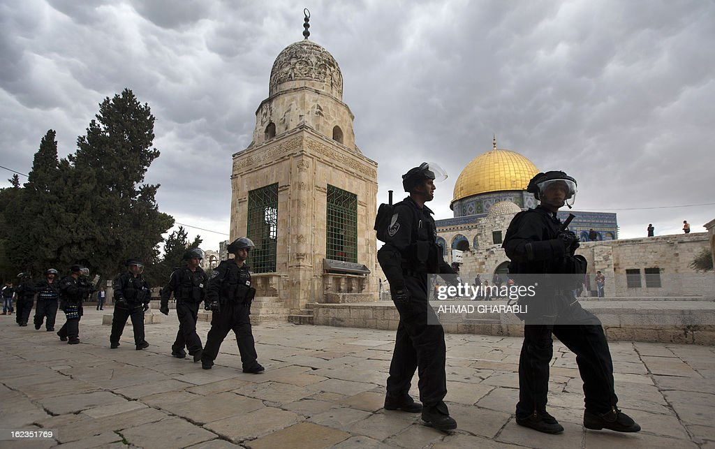 Israeli riot police are deployed at Jerusalem's Al-Aqsa mosque during clashes with Palestinian demonstrators gathering in solidarity with hunger-striking Palestinian prisoners on February 22, 2013. Palestinians demanding the release of hunger-striking prisoners clashed with Israelis in the West Bank and east Jerusalem, as three fasting inmates were taken to hospitals.