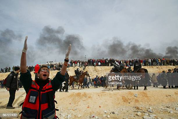 Israeli riot police clash with Israeli settlers February 1 2006 in the West Bank outpost of Amona The eighty residents of Amona compose one of...
