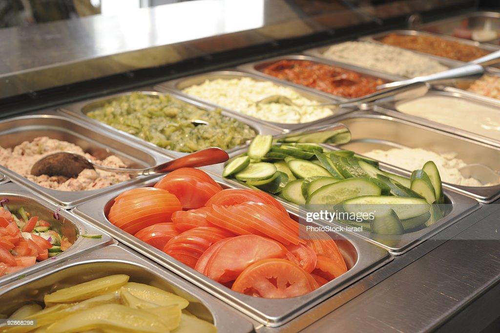 Israeli salad Bar : Stock Photo