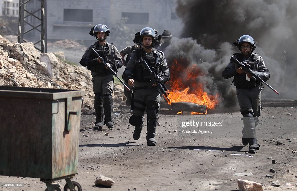 Israeli security forces attack Palestinian protesters during the clashes following a protest against Israeli Government's violation over AlAqsa...