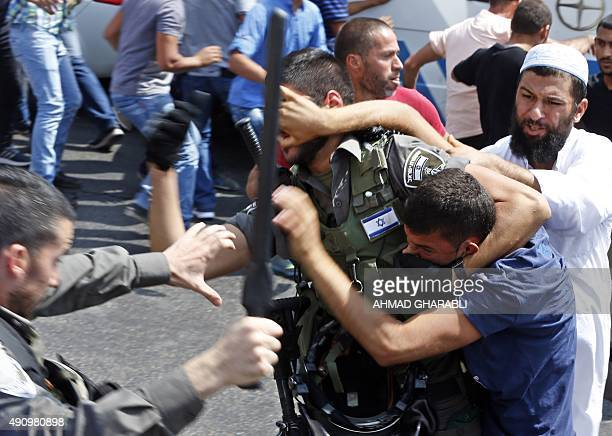 Israeli security forces clash with Palestinian protesters who were prevented from entering the AlAqsa mosque compound to attend Friday prayers on...
