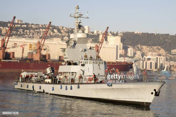 Israeli ships type Saar 45 return to the port of Haifa following the 'Novel Dina 17' training session in the Mediterranean Sea on April 6 2017...