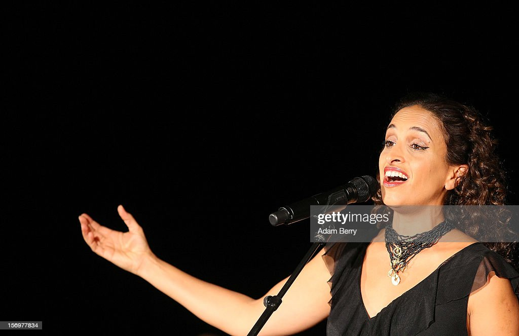 Israeli Singer Achinoam Nini, also known as Noa, performs with the Solis String Quartet at the Universitaet der Kuenste Berlin (UdK) on November 26, 2012 in Berlin, Germany.