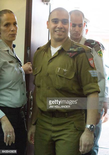 Israeli soldier Elor Azaria who shot dead a wounded Palestinian assailant in March 2016 arrives for the start of his sentencing hearing in a military...