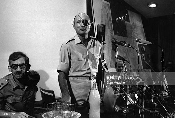 Israeli soldier statesman and Minister of Defence General Moshe Dayan holds a press conference in Jerusalem during the Six Day War Original...