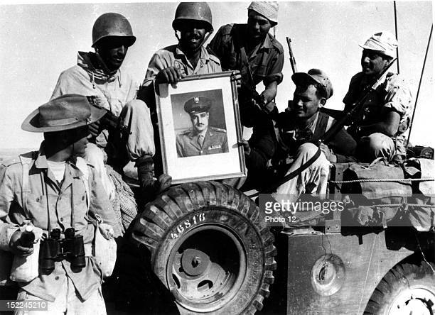 Israeli soldiers bringing back a portrait of Nasser as a souvenir Egypt Suez Crisis Washington National Archives