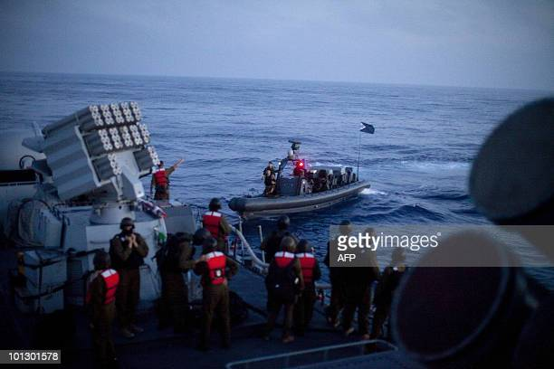 Israeli soldiers get ready to disembark from a missile ship as they prepare to raid a Gazabound aid flotilla in the Mediterranean Sea on May 31 2010...