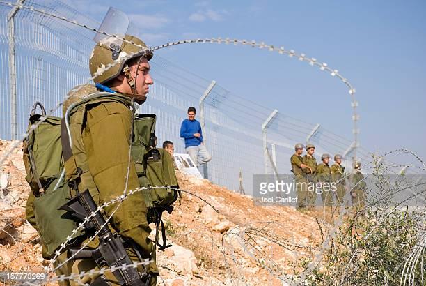 Israeli soldiers in the West Bank village Bil'in