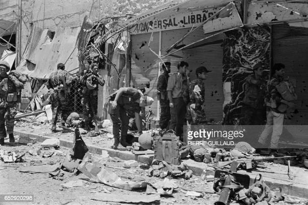Israeli soldiers inspect destructions in a street of Jerusalem in June 1967 during the sixday war On 05 June 1967 Israel launched preemptive attacks...