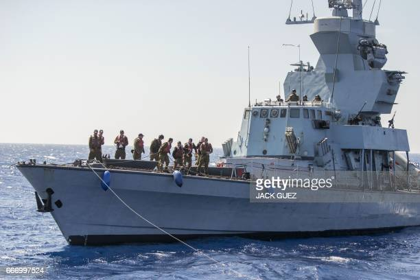 CORRECTION Israeli soldiers onboard the Israeli vessel Saar 45 Class Corvette 'INS Hanit' attend a training session during the 'Novel Dina 17'...