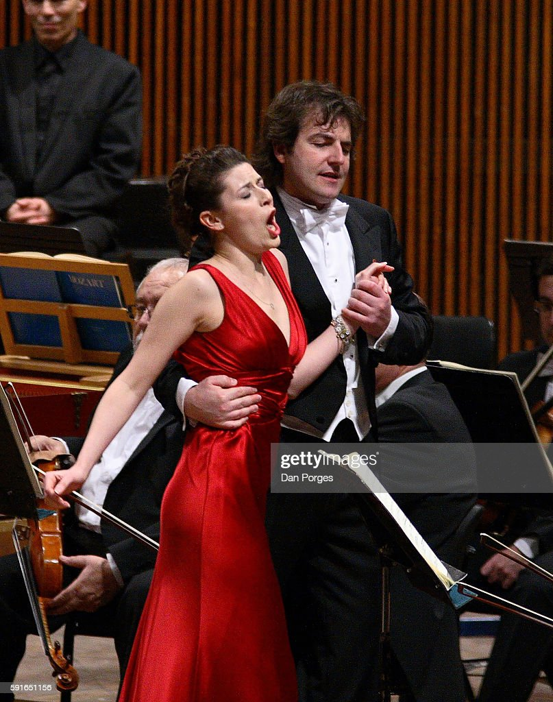 Israeli soprano Chen Reiss and Italian bass Nicola Ulivieri perform in a concert version of 'Don Giovanni' at the Mann Auditorium Tel Aviv Israel...
