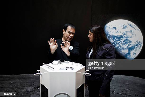 Israeli space programme Space IL chairman speaks to Rona Ramon about the new Space IL nano spaceship prototype during a press conference held by...