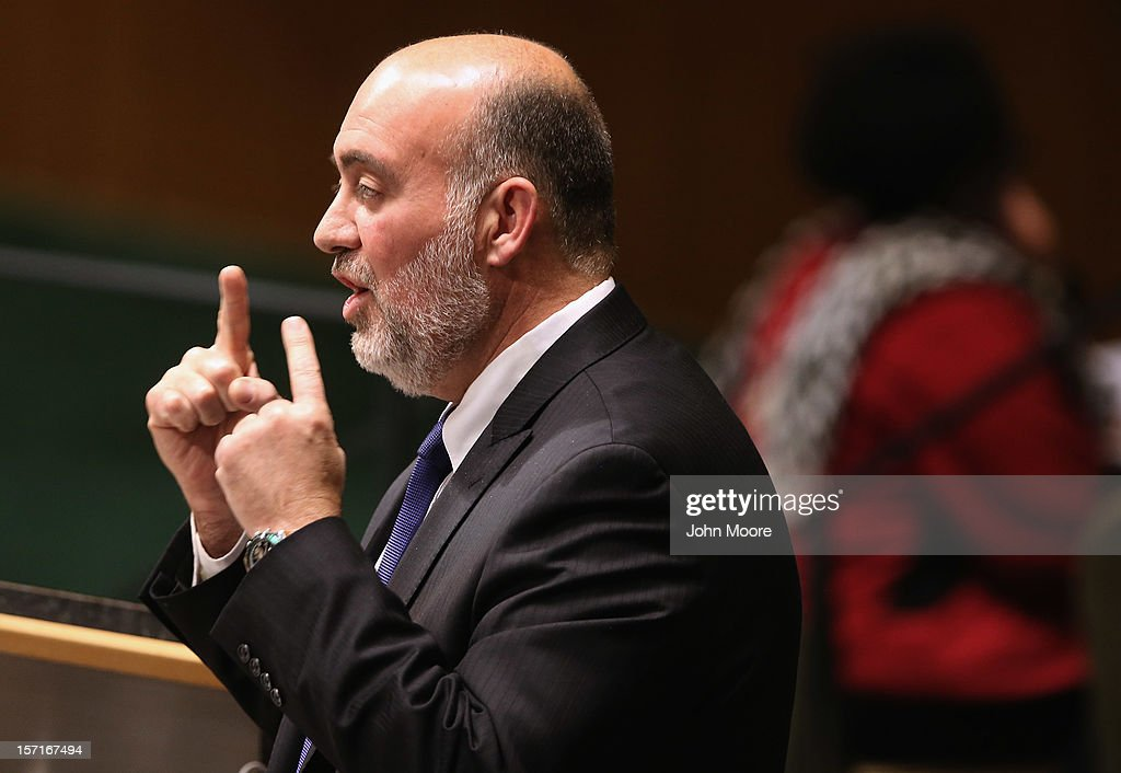 Israeli United Nations Ambassador Ron Prosor speaks at a meeting of the General Assembly on November 29, 2012 in New York City. Israel, the United States, Canada and a handful of others voted against today's historic resolution granting non-member observer status to Palestinians. The resolution was approved by the 193-member body in a 138-9 vote, with 41 abstentions.