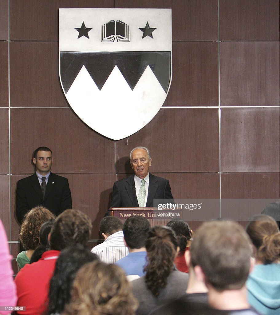 Israeli Vice Prime Minister and Nobel Peace Prize Winner Shimon Peres appears as mtv U surprise 'Stand In' Professor' at New York University in New York, New York on September 15, 2005.