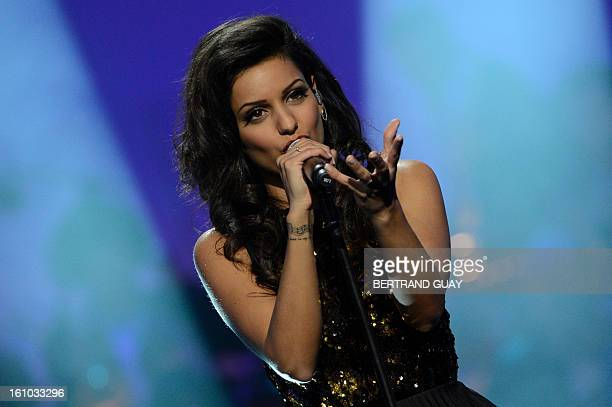 Israeliborn French singer Tal Benyerzi known as Tal performs during the 28th Victoires de la Musique the annual French music awards ceremony on...