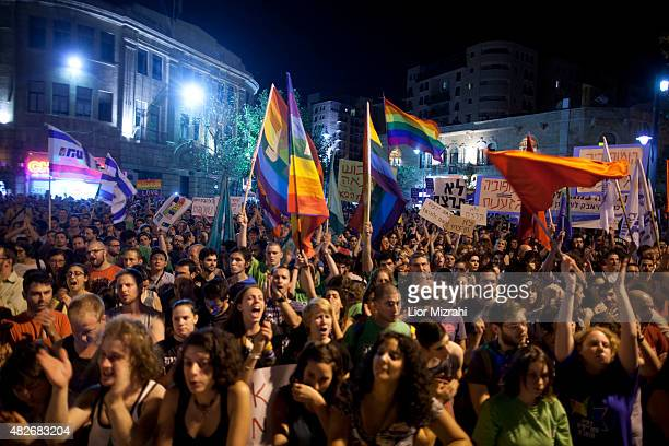 Israelis and members of the gay community attend an antihomophobia rally on August 1 2015 in Jerusalem Israel Thousands of people took part in...