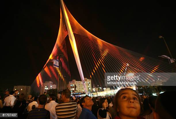 Israelis attend the inauguration ceremony of the 'Chords Bridge' designed by Spanish architect Santiago Calatrava at the main entrance of Jerusalem...