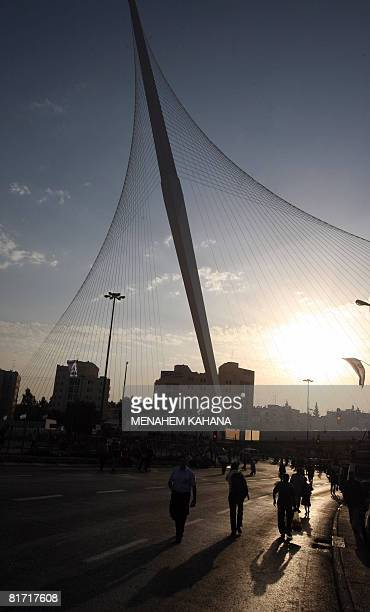 Israelis gather before in the inauguration ceremony of the 'Chords Bridge' designed by Spanish architect Santiago Calatrava at the main entrance of...